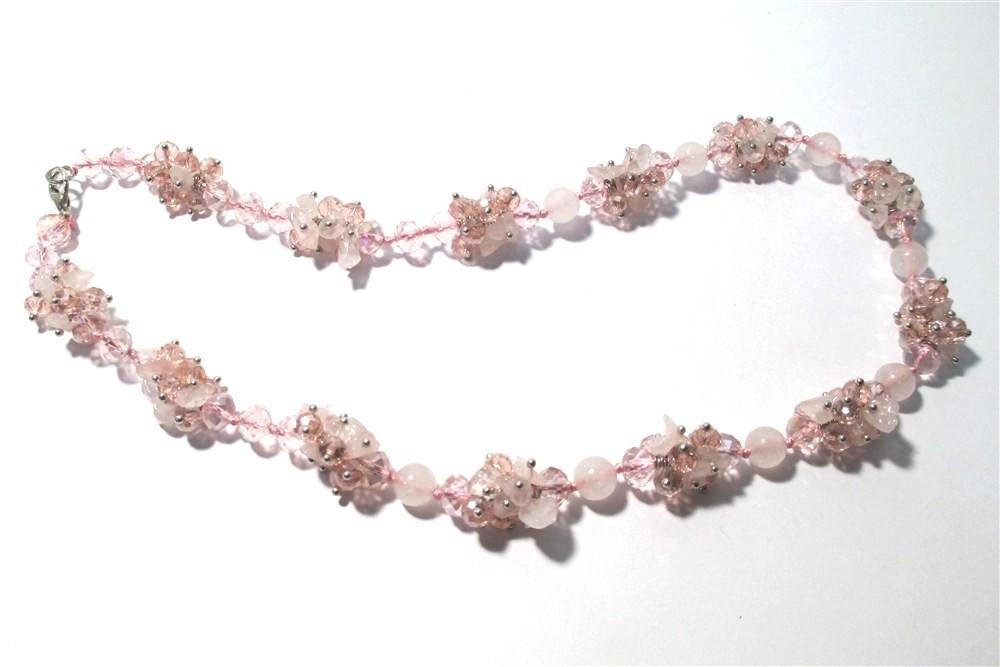 Бусы розовый кварц с крошкой и хрусталем